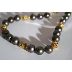Collier de perles de culture noires